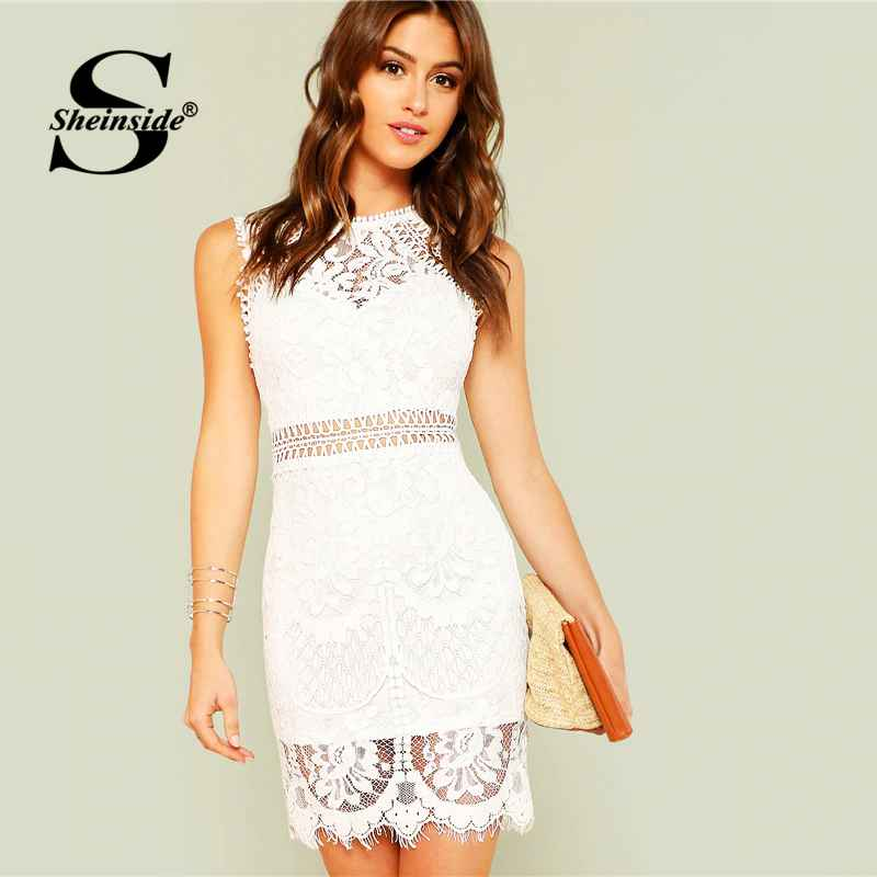 Hollow Out Insert Lace Dress Women White Round Neck Sleeveless