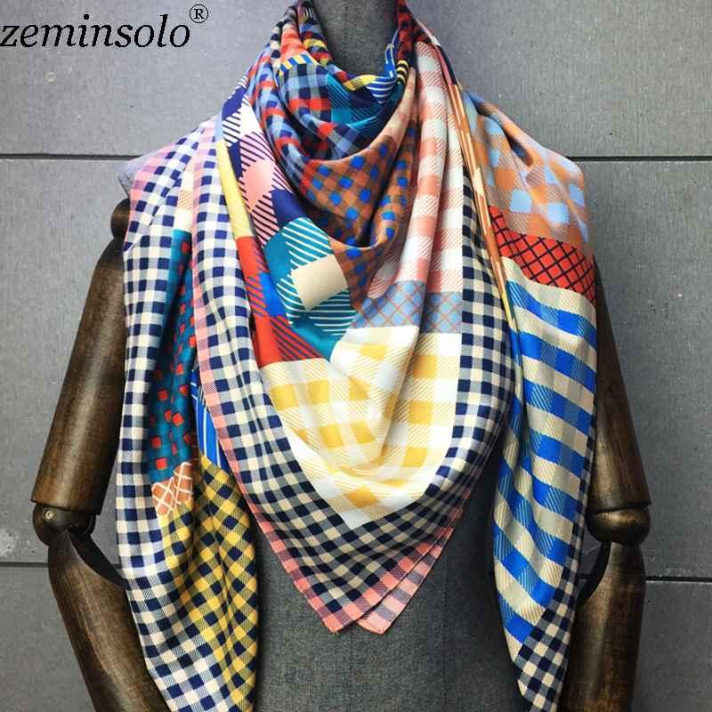 100% Twill Silk Scarf Women Print Shawl Echarpe Fourlard Femme