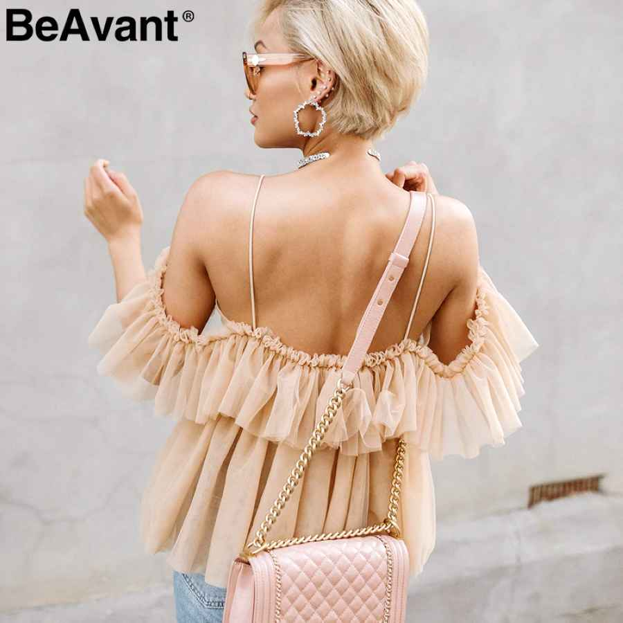 Off Shoulder Womens Tops And Blouses Summer 2019 Backless Peplum