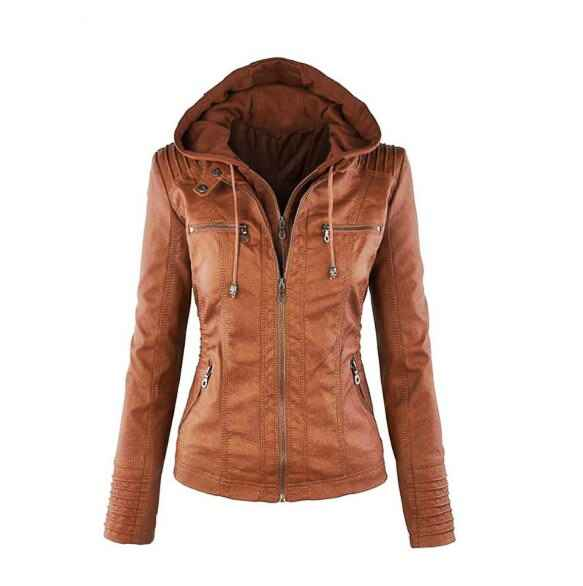 Fashion Womens Convertible Collar Faux Leather Jacket Detachable Hooded Jacket