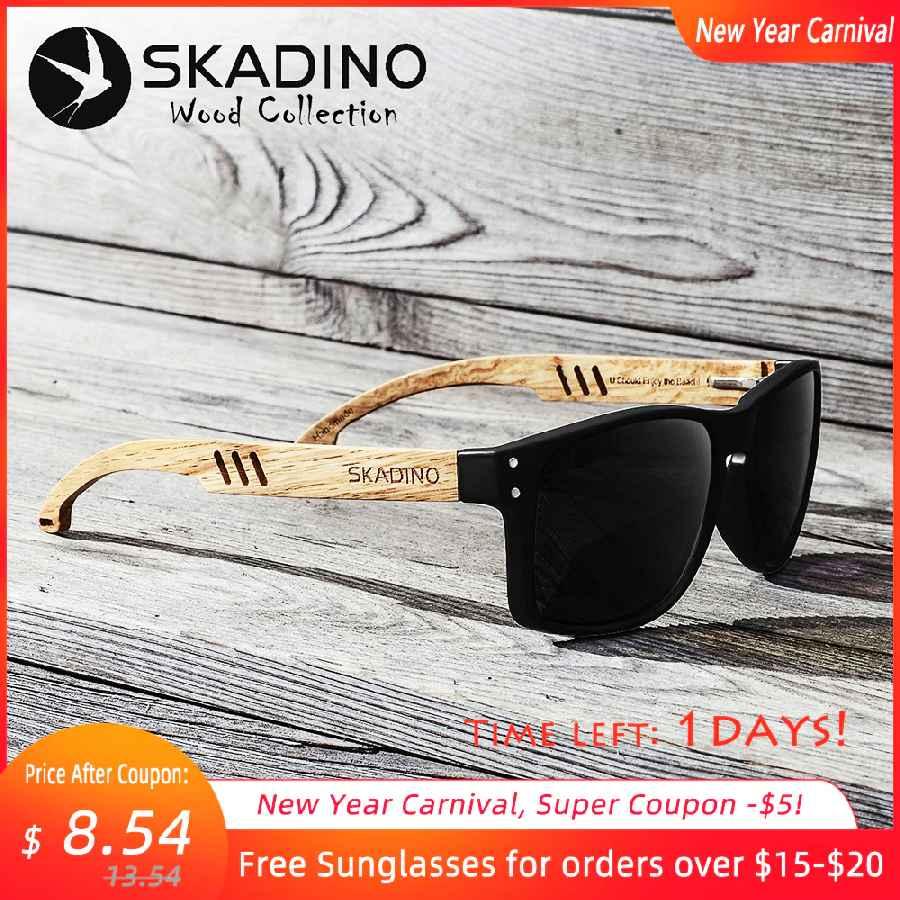 Skadino Beech Wood Men Sunglasses Polarized Wooden Sun Glasses For