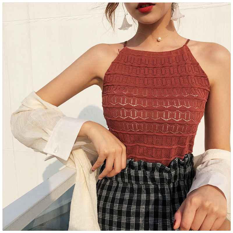 Women Slim Knitting Halter Neck Hollow Out Camisole Tops Female