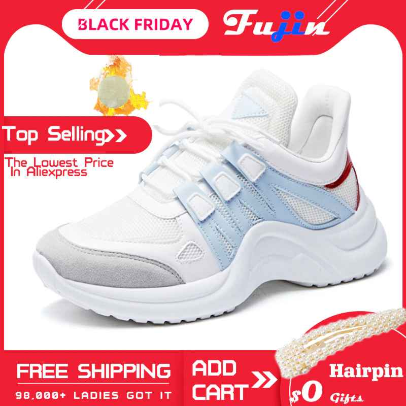 Fujin Sneakers Women 2019 Breathable Mesh Casual Shoes Female Fashion