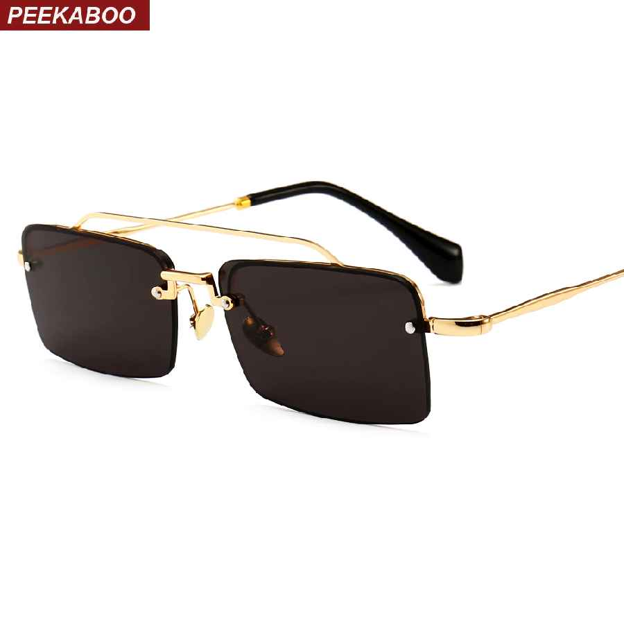 Peekaboo Retro Rectangle Sunglasses Men Metal Frame Gold Brown Red