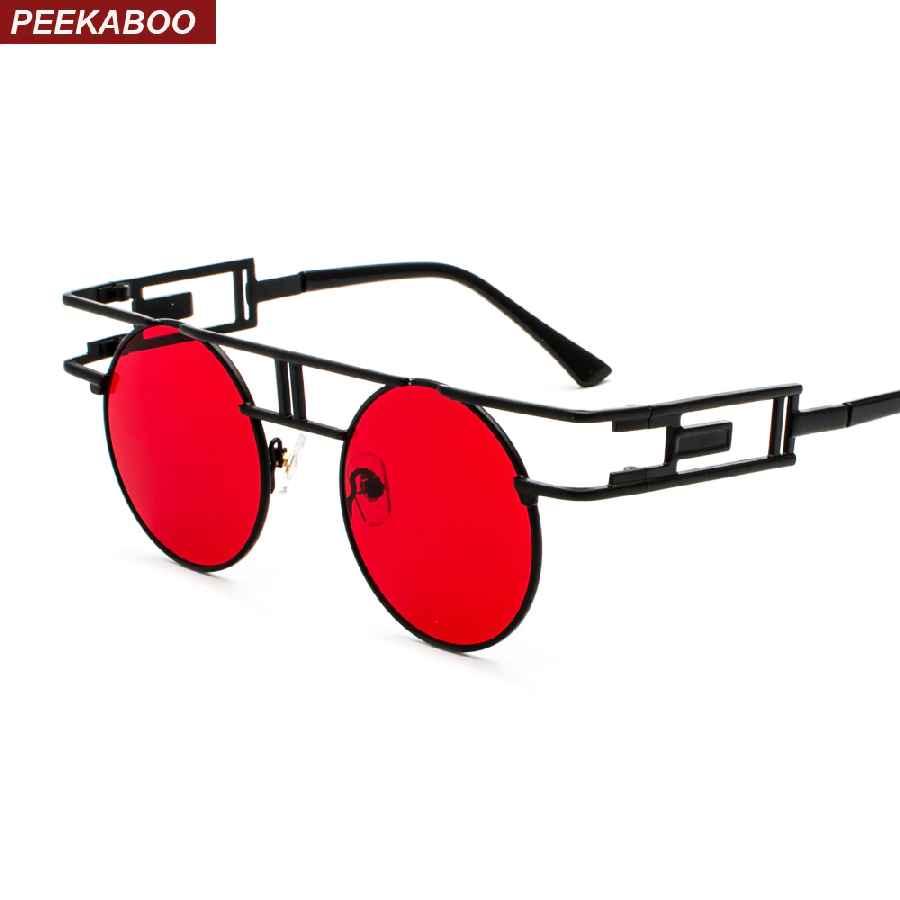Peekaboo Vintage Gothic Steampunk Sunglasses Men Retro Round Metal Frame
