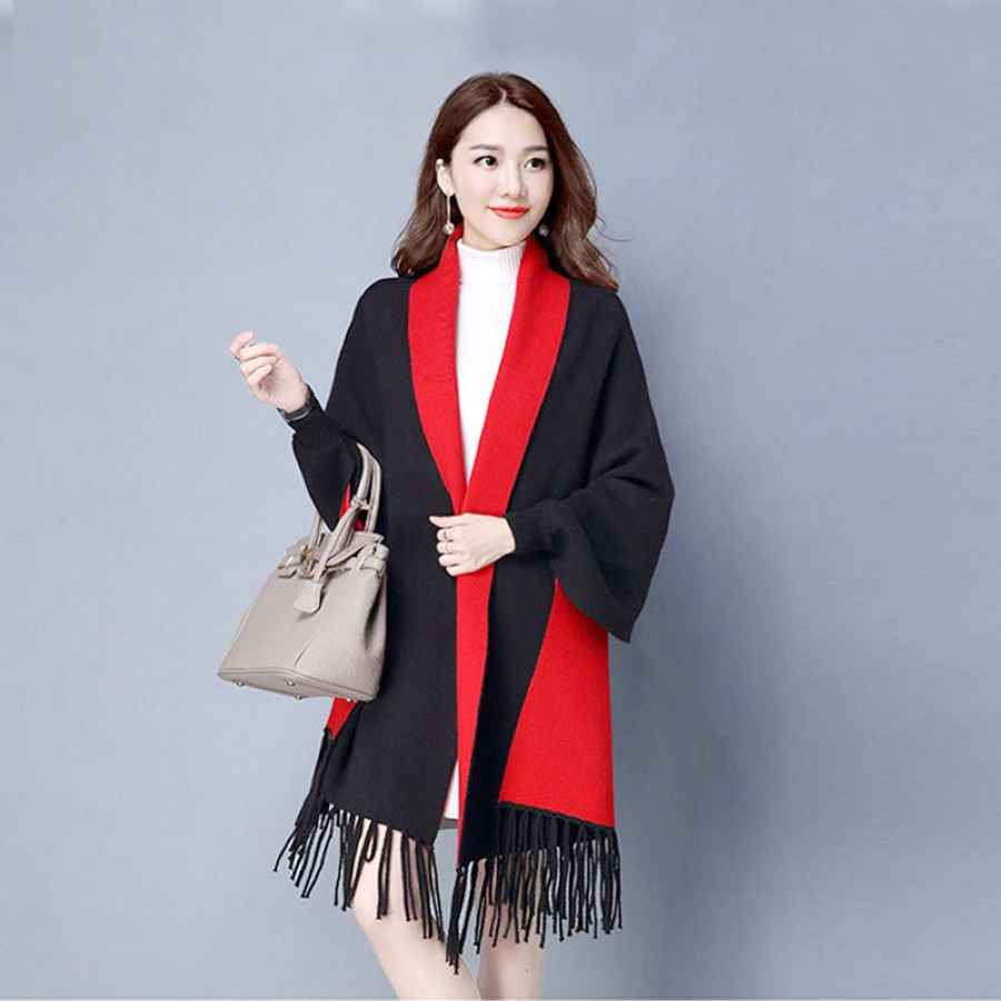 Mingjiebihuo New Cashmere Poncho Shawl With Sleeves Women In Autumn