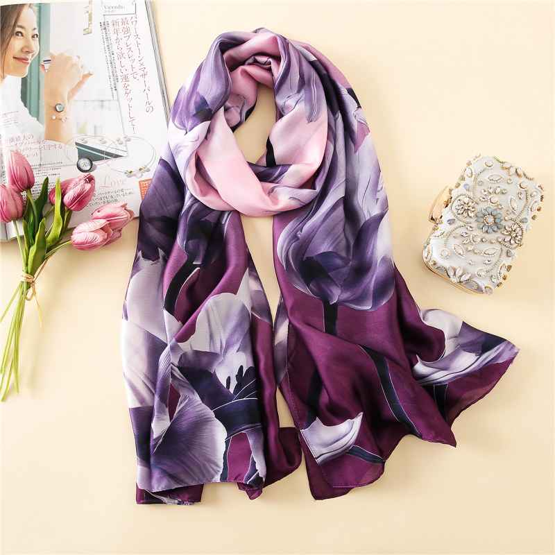 2018 Luxury Brand Women Silk Scarf Big Flower Print Purple