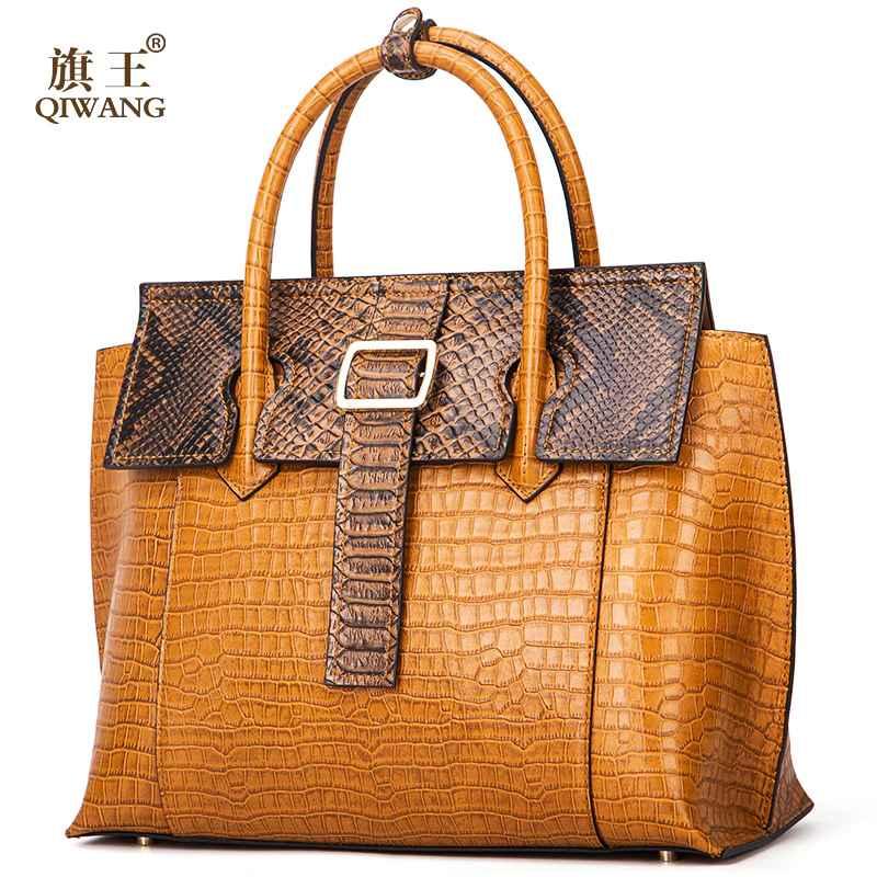 Qiwang Brand Luxury Leather Lady Handbags Designer Tote Bag High