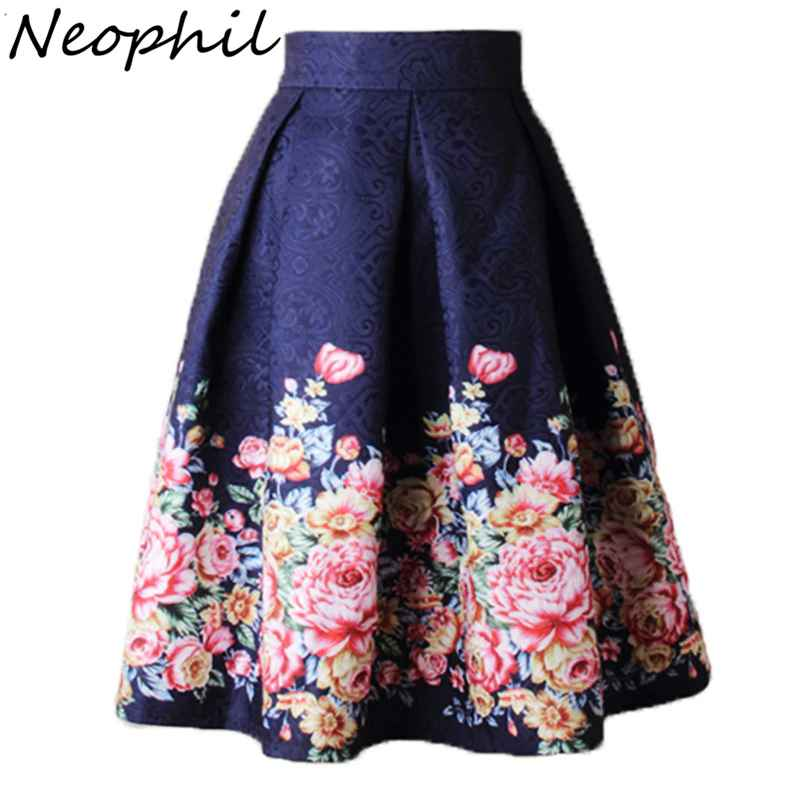 Skirts neophil 2019 ladies jacquard flower print pleated ball gown