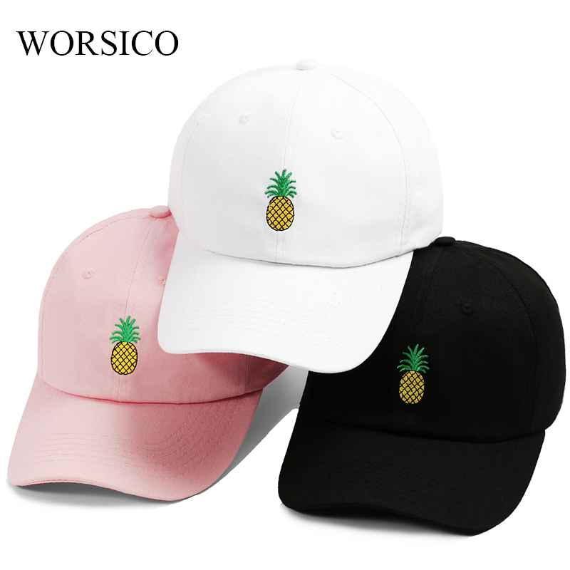 Baseball Cap Women Men Pineapple Embroidery Dad Hat Trucker Fashion