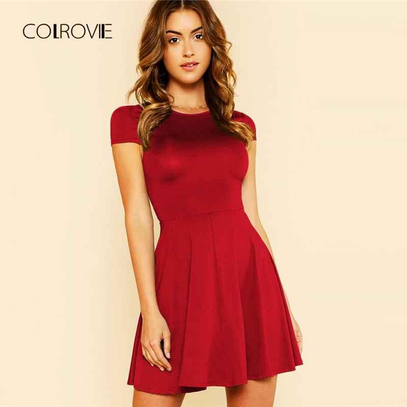 Colrovie Black Wokwear Open Back Date Women Dress 2018 New