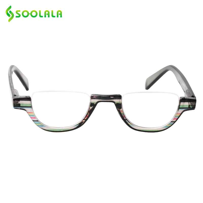 Soolala Flat Top Semi-Rimless Reading Glasses Women Men 2018 New