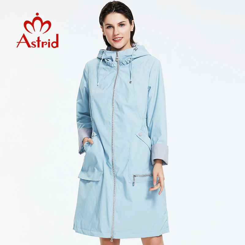 Astrid 2019 New Women Trench Coat Spring Long Hooded Solid