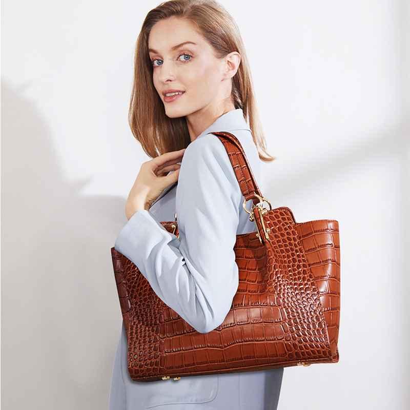 Qiwang Kate Ladies Hand Bags Authentic Cowhide Brown Bag Women