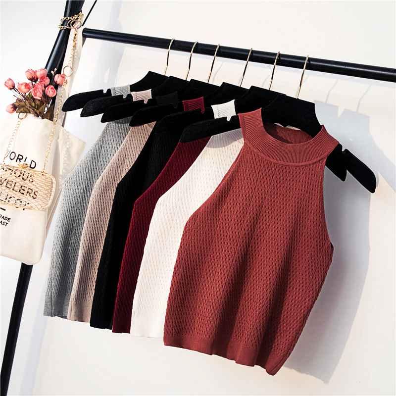 Summer Women s Knitting Halter Off-Shoulder Tank Crop Tops Female Bodycon