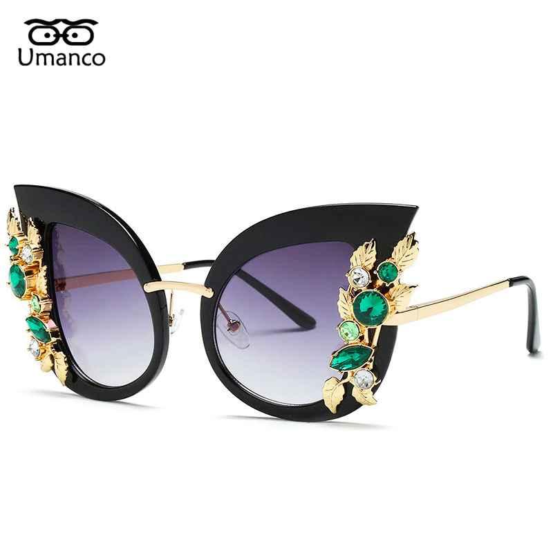 Umanco Charming Flower Rhinestone Cat Eye Sunglasses Women Vintage Fashion