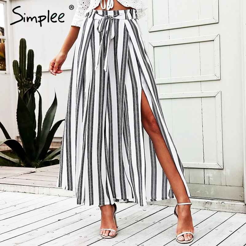 Pants Simplee High Waist Loose Striped Summer Pants Plus Size