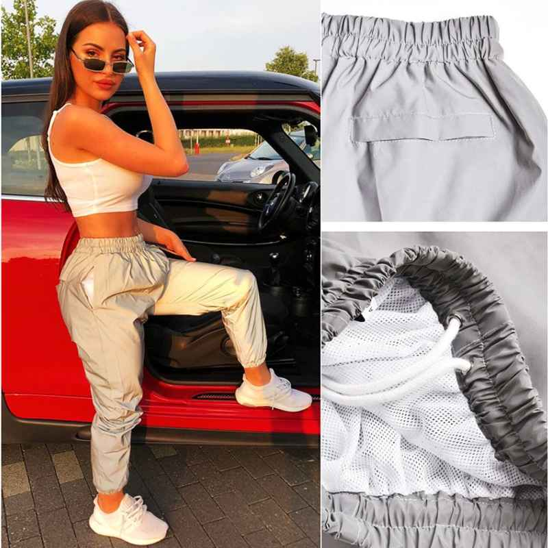 Pants autumn silver reflective sweatpants big size 2019 hippie womens