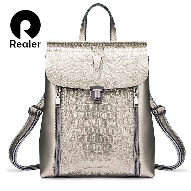 Women Backpack Leather Backpack School Bags For Girl Teenagers Crocodile