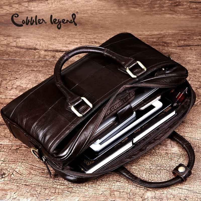 Men Genuine Leather Briefcase Bag For Male Crossbody Bags Shoulder