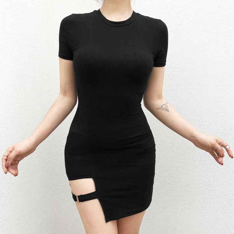 Black Harajuku Dresses Women Summer Short Sleeve Sexy Hollow Out