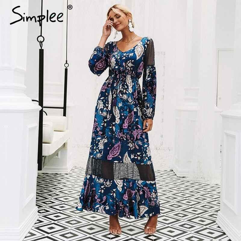 Floral Print Dresses Simplee V Neck Print Long Dress Women