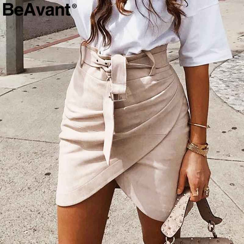 Asymmetric Suede Leather Skirts Womens Sash High Waist Winter Skirt