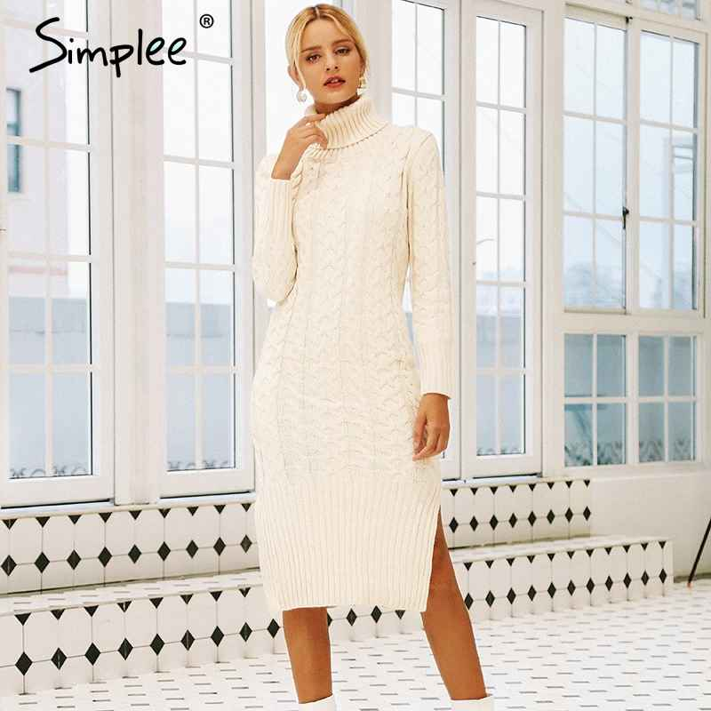 Autumn Winter Dresses Simplee Elegant Side Split Warm Long Sleeve