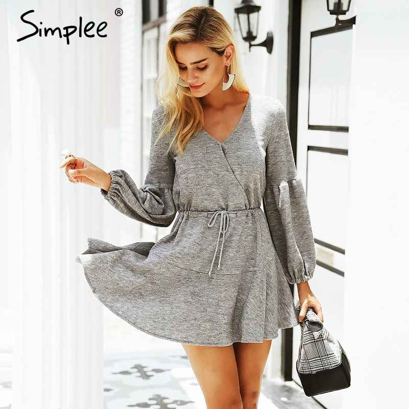 Autumn Winter Dresses Simplee Latern Sleeve Knitted Sweater Dress Women
