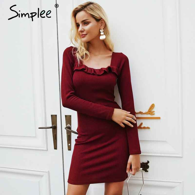 Autumn Winter Dresses Simplee Ruffles Square Neck Knitting Sweater Dress