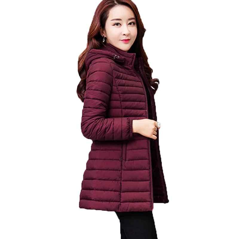 Parkas women autumn winter jacket parkas 2019 new solid hooded