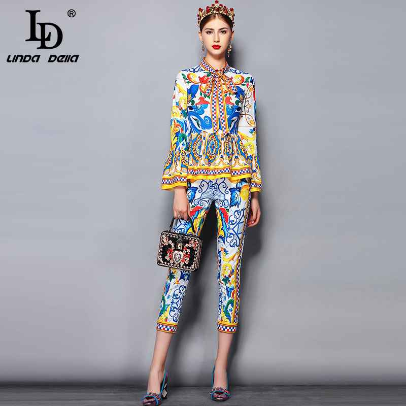 Fashion Runway Pants Suit Sets Women's Flare Sleeve Bow Collar