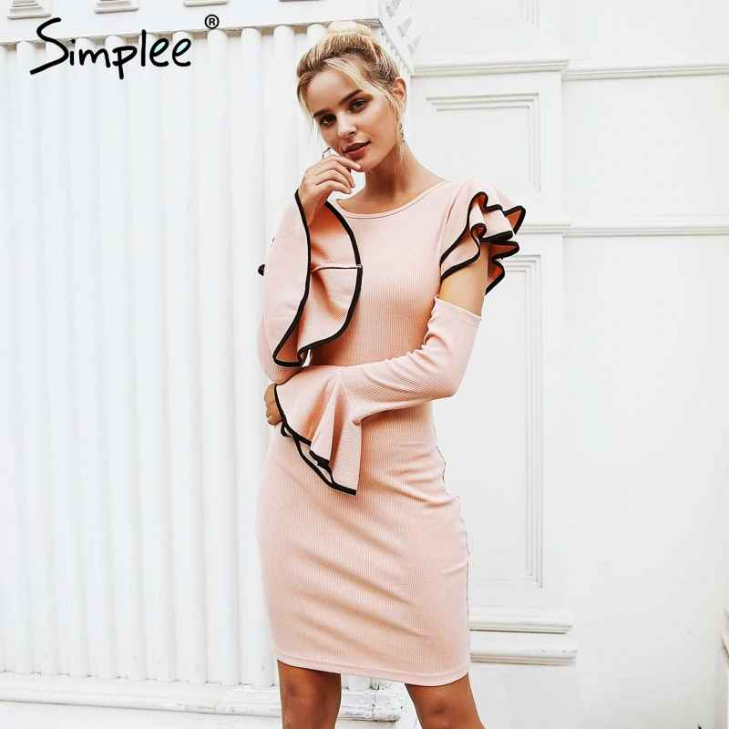 Autumn Winter Dresses Simplee Cold Shoulder Ruffles Knitted Dress Women