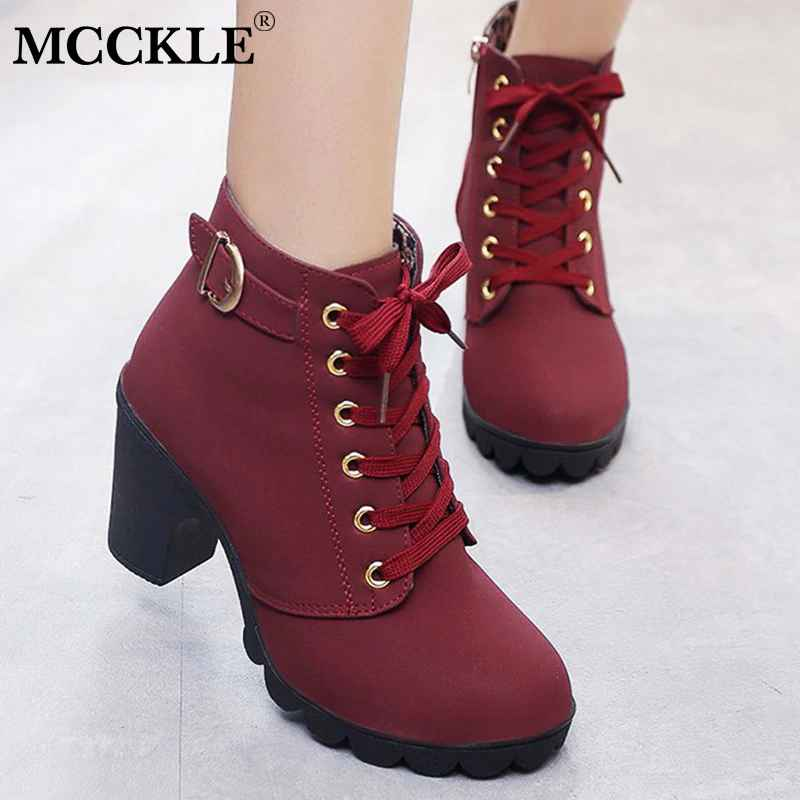 Mcckle Plus Size Ankle Boots Women Platform High Heels Womens