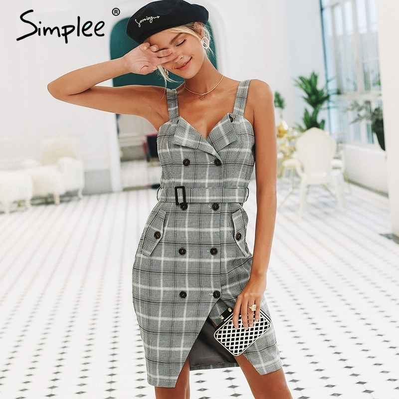 Plaid Strap Women Dress Office Lady High Waist Split Sash