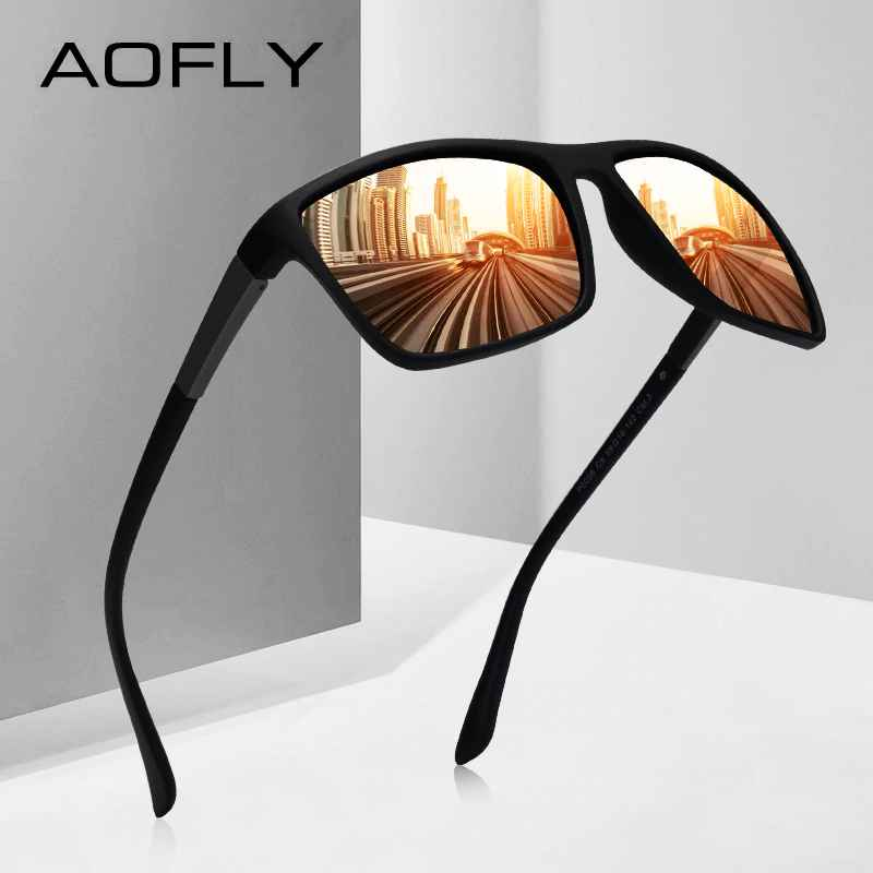 Sunglasses Men Driving Male Polarized Sunglasses Vintage Square Frame Eyewear