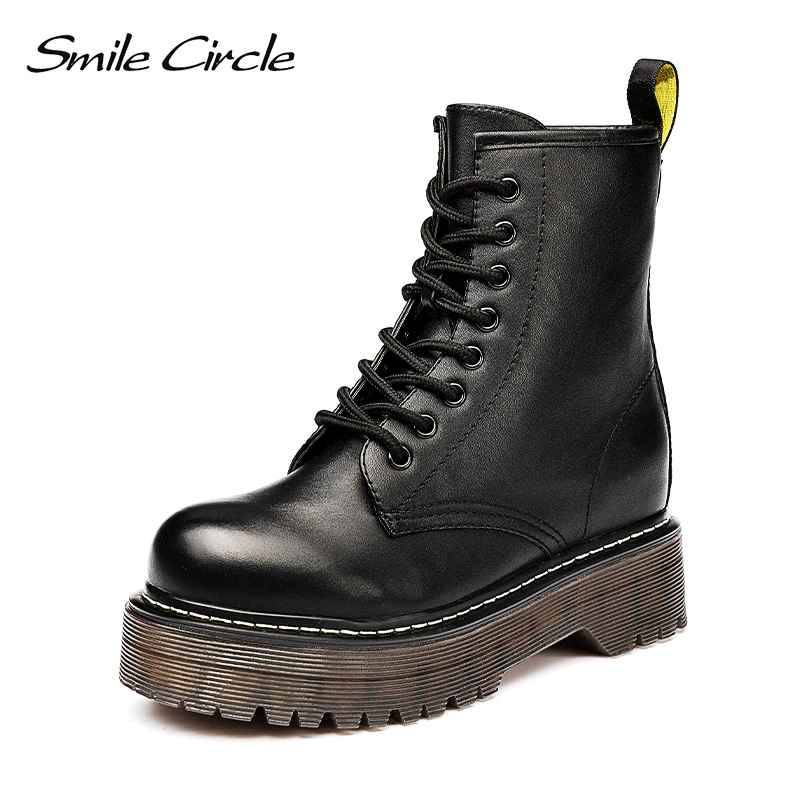 Smile Circle Size36-41 Chunky Motorcycle Boots For Women Autumn 2018
