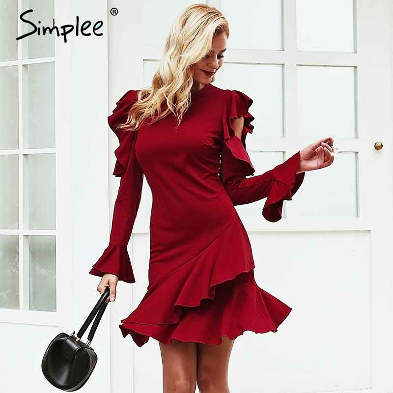 Autumn Winter Dresses Simplee O Neck Ruffles Women Dress Long