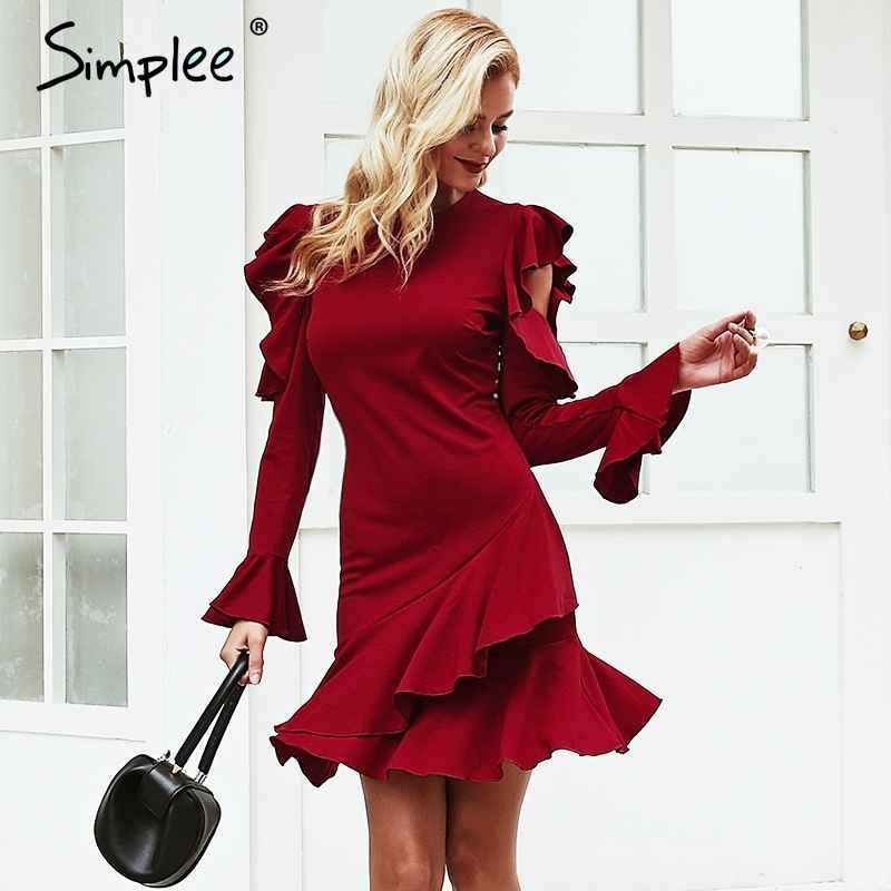 Autumn Winter Dresses Simplee O Neck Ruffles Women Dress Long