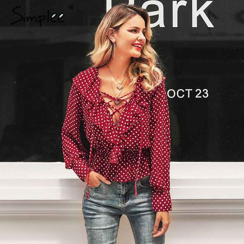 Blouses Shirts Simplee V Neck Floral Print Women Shirt Lace