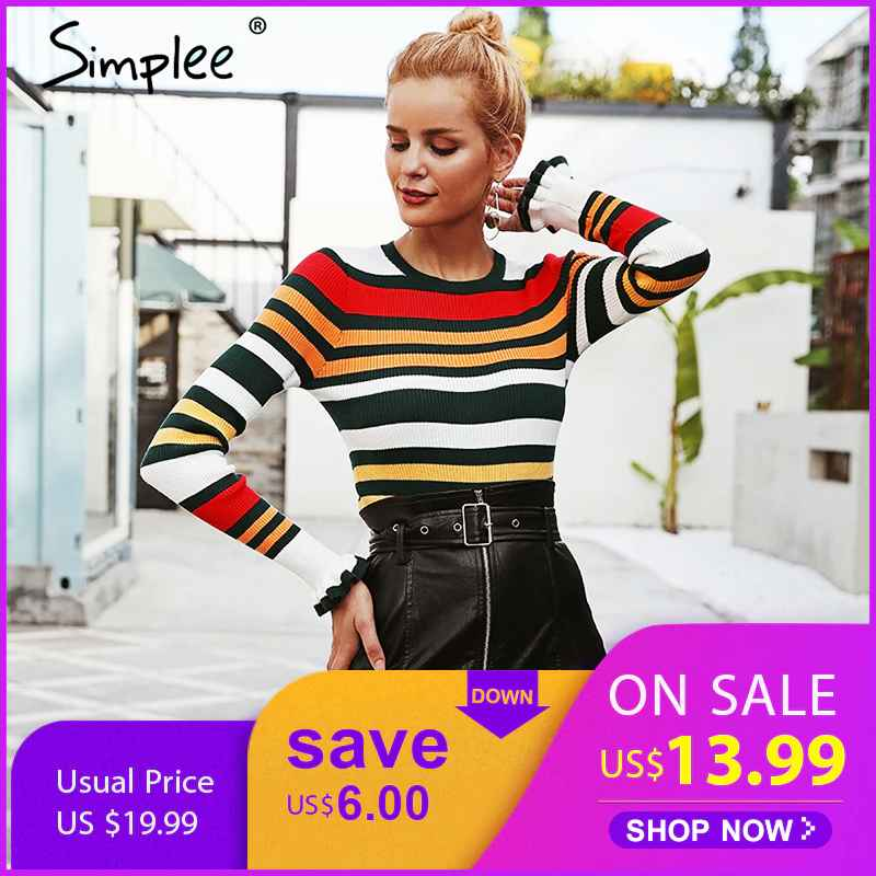 Pullover Jumpers Simplee Ruffles Stripe Autumn Winter Sweater O Ncek