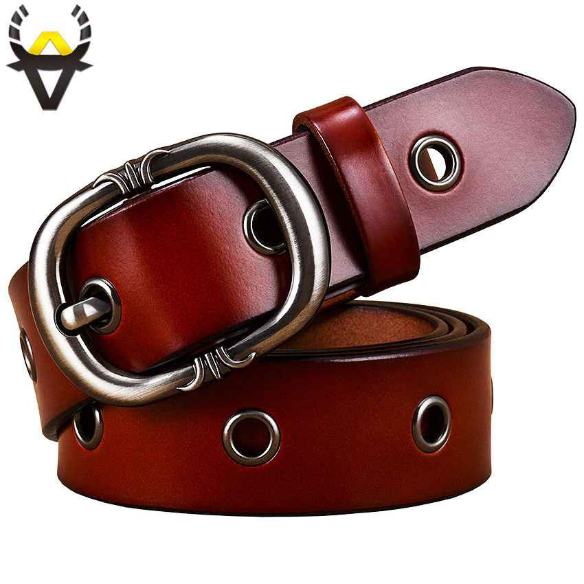Fashion Metal Hollow Genuine Leather Belts For Women Quality Pin
