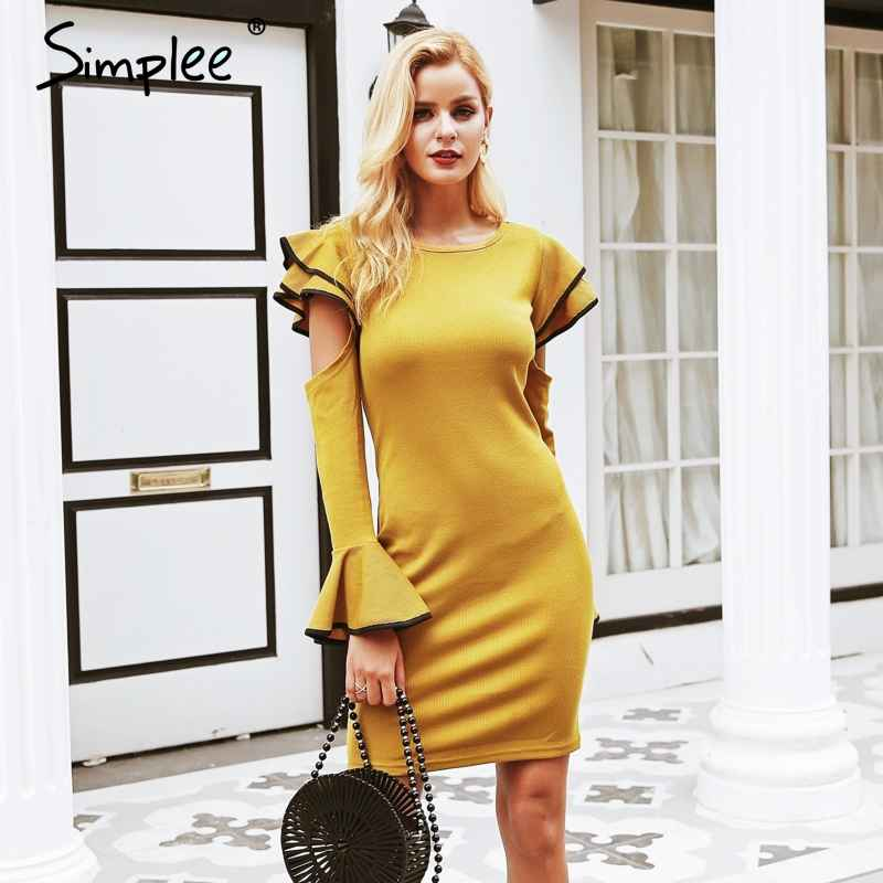 Autumn Winter Dresses Simplee Cold Shoulder Ruffles Knitted Women Dress