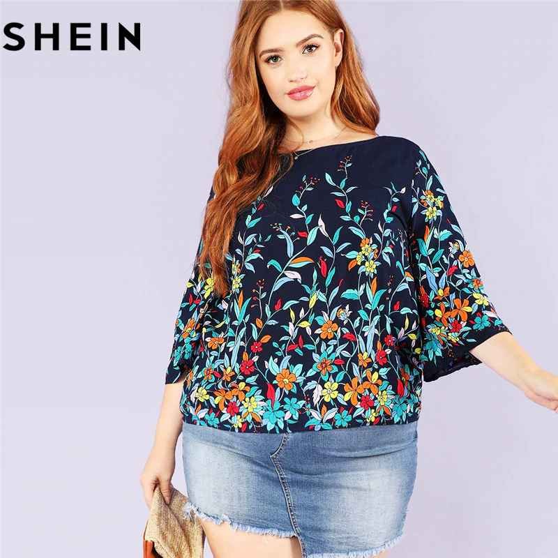 Blouses shein floral print navy plus size round neck casual