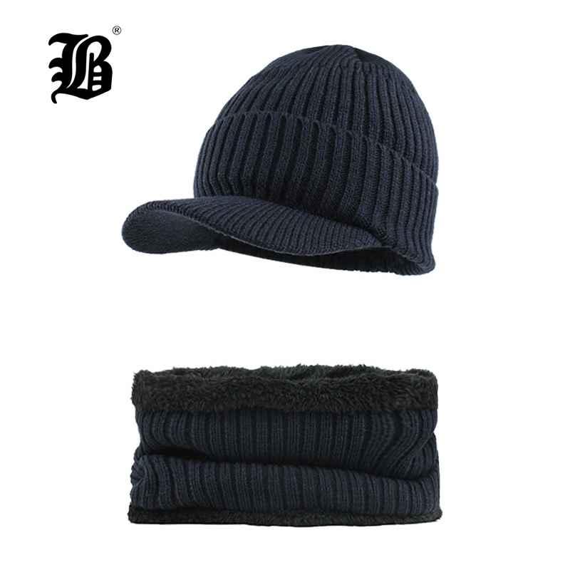 Flb Brand Bone Men s Winter Hat Knitted Wool Beanies Men