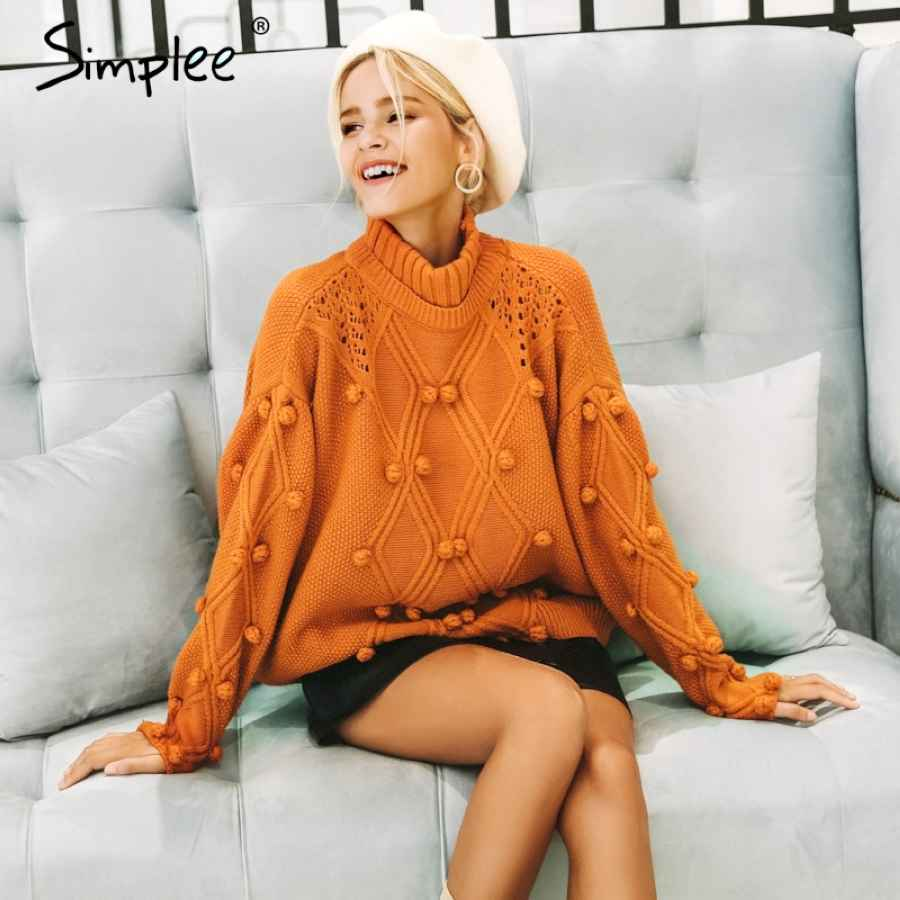 Turtleneck Sweater Women Pullover Hollow Out Knitted Sweaters 2019 Autumn
