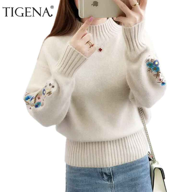 Sweaters tigena 2019 winter thick warm beautiful embroidery turtleneck sweater