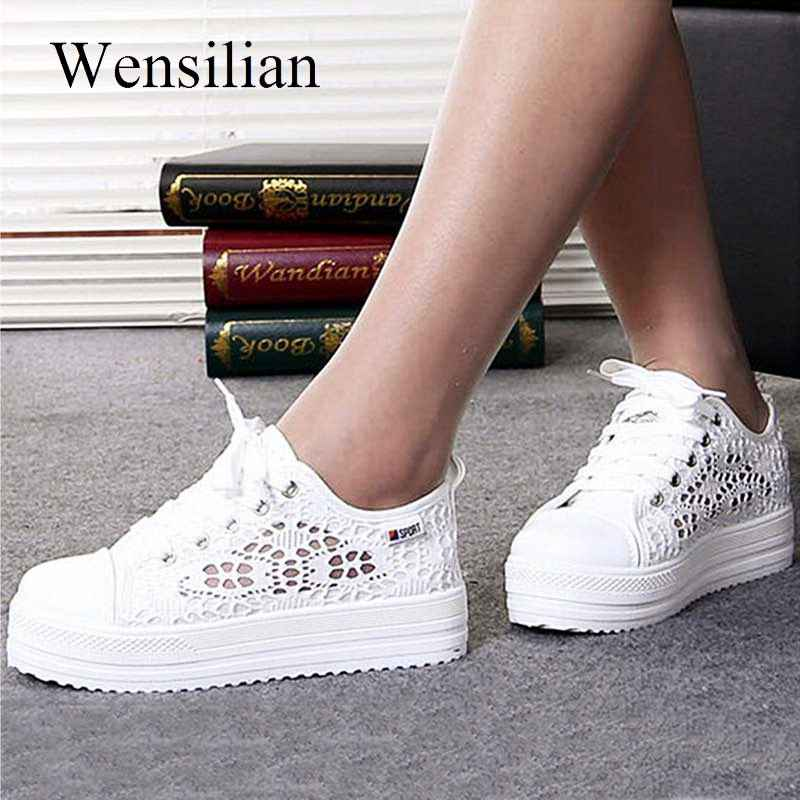 Fashion Platform Sneakers Women Vulcanize Shoes Canvas Casual Shoes Breathable