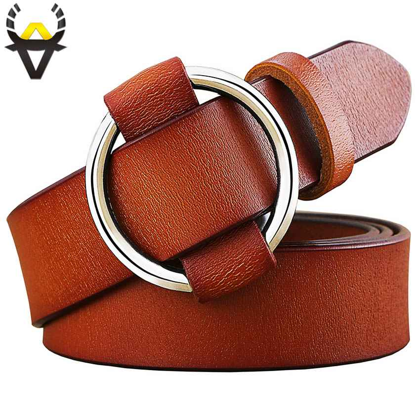 Fashion Round Ring Buckle Belt Woman Genuine Leather Belts For
