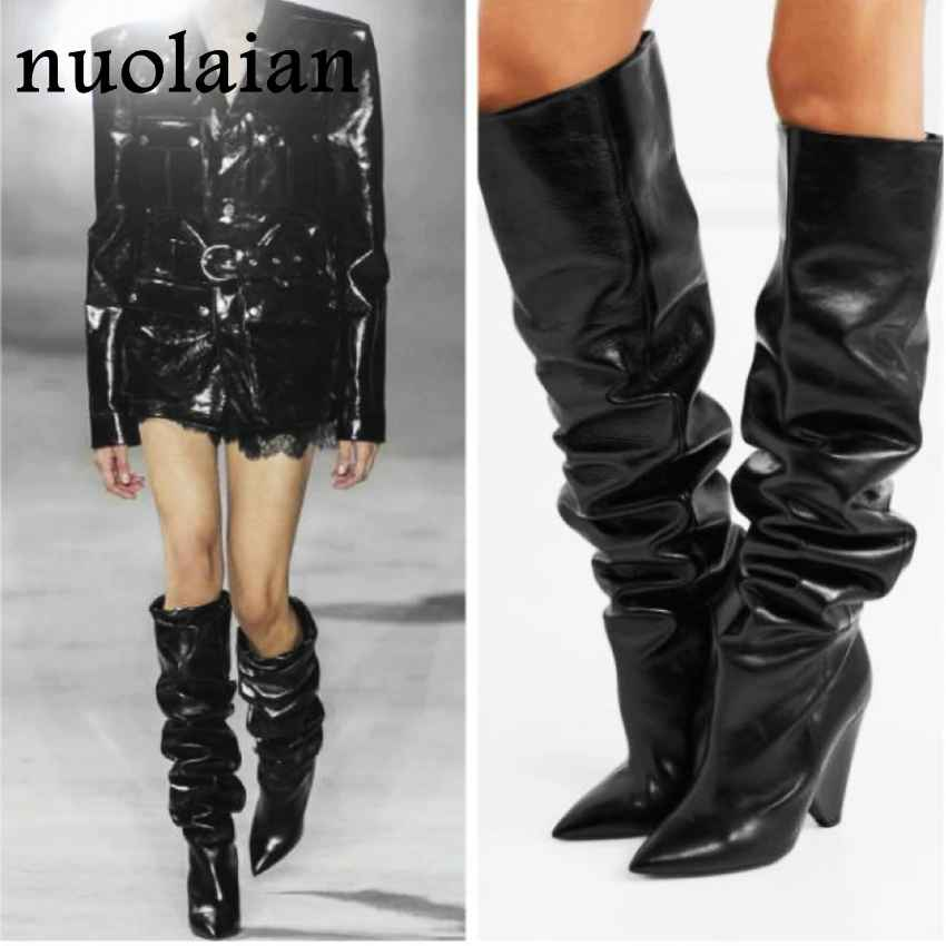 Black Leather Thigh High Boots Women 9cm High Heel Over